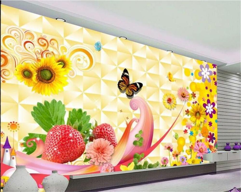 beibehang murales del papel pintado d cartoon habitacin nios girasol fruta fondo de la pared papel
