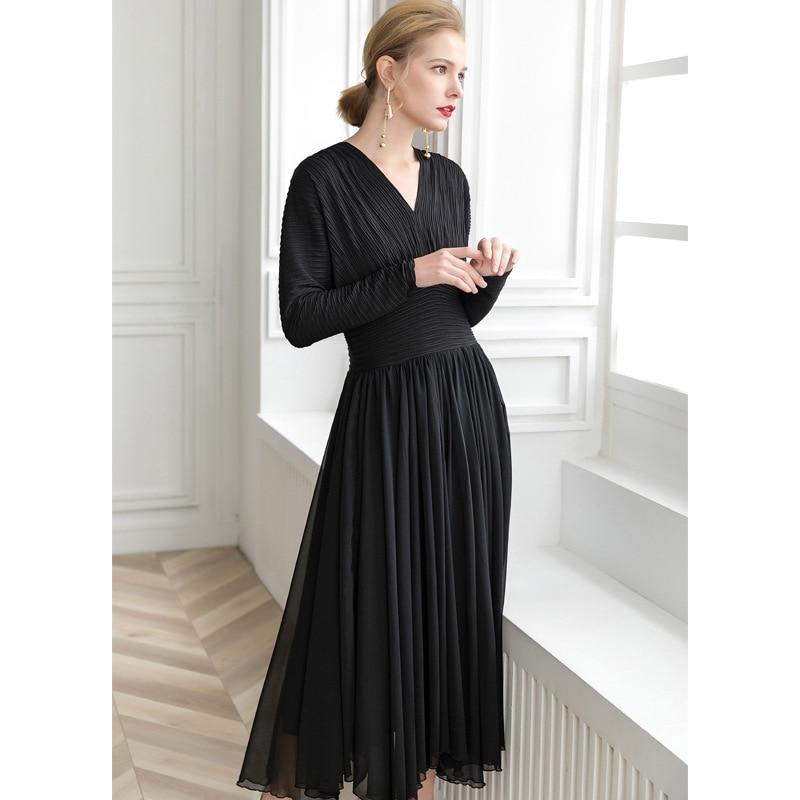 2468dce039b Detail Feedback Questions about PIXY Vintage Black Pleated Dress Elegant  vestidos Bat Long Sleeve Dresses V Neck shein Designer Runway High Quality  Clothing ...