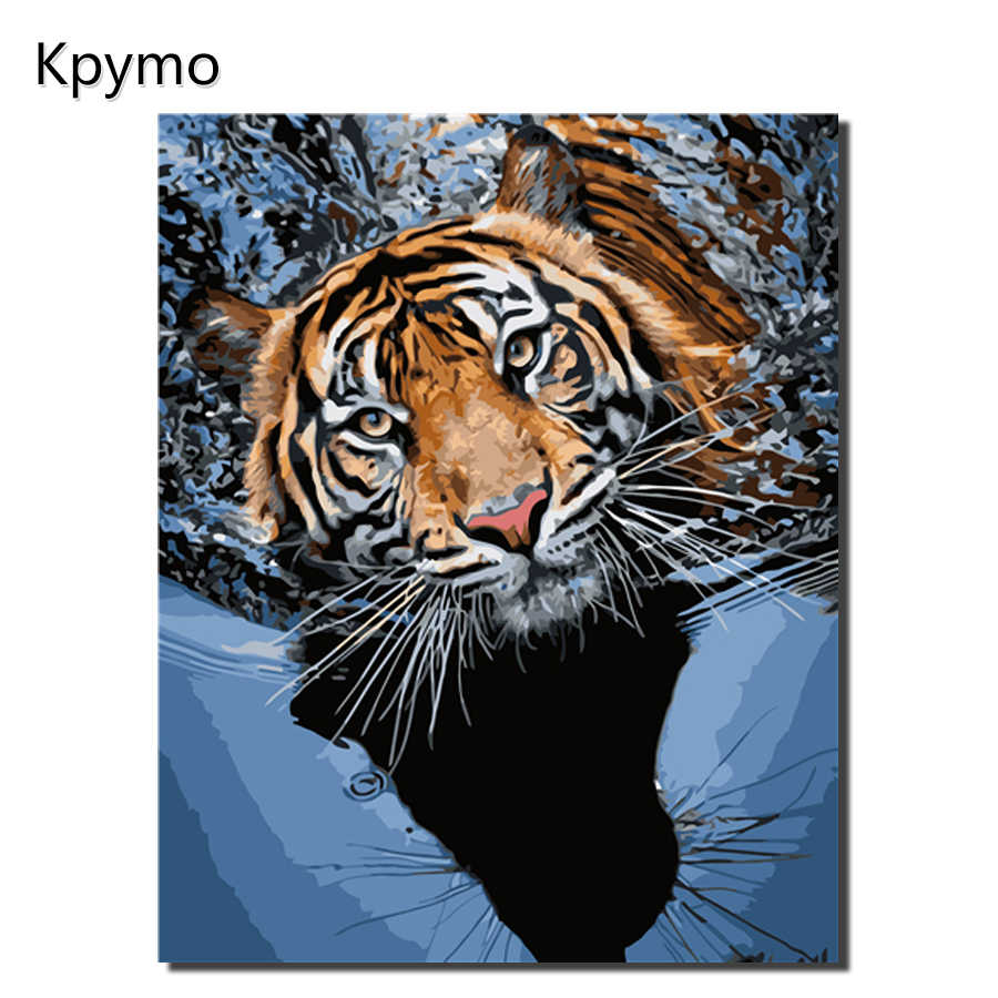 Kpymo Framed Tiger Animal DIY Painting By Number Wall Art Picture Paint By Number Canvas Painting For Home Decor Artwork VA-0442