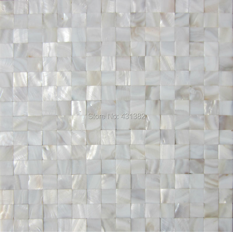 White luster mother of pearl tiles backsplash kitchen