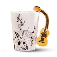 크리 에이 티브 참신 기타 핸들 세라믹 컵 무료 스펙트럼 커피 우유 차 컵 성격 머그잔 독특한 악기 선물 cu