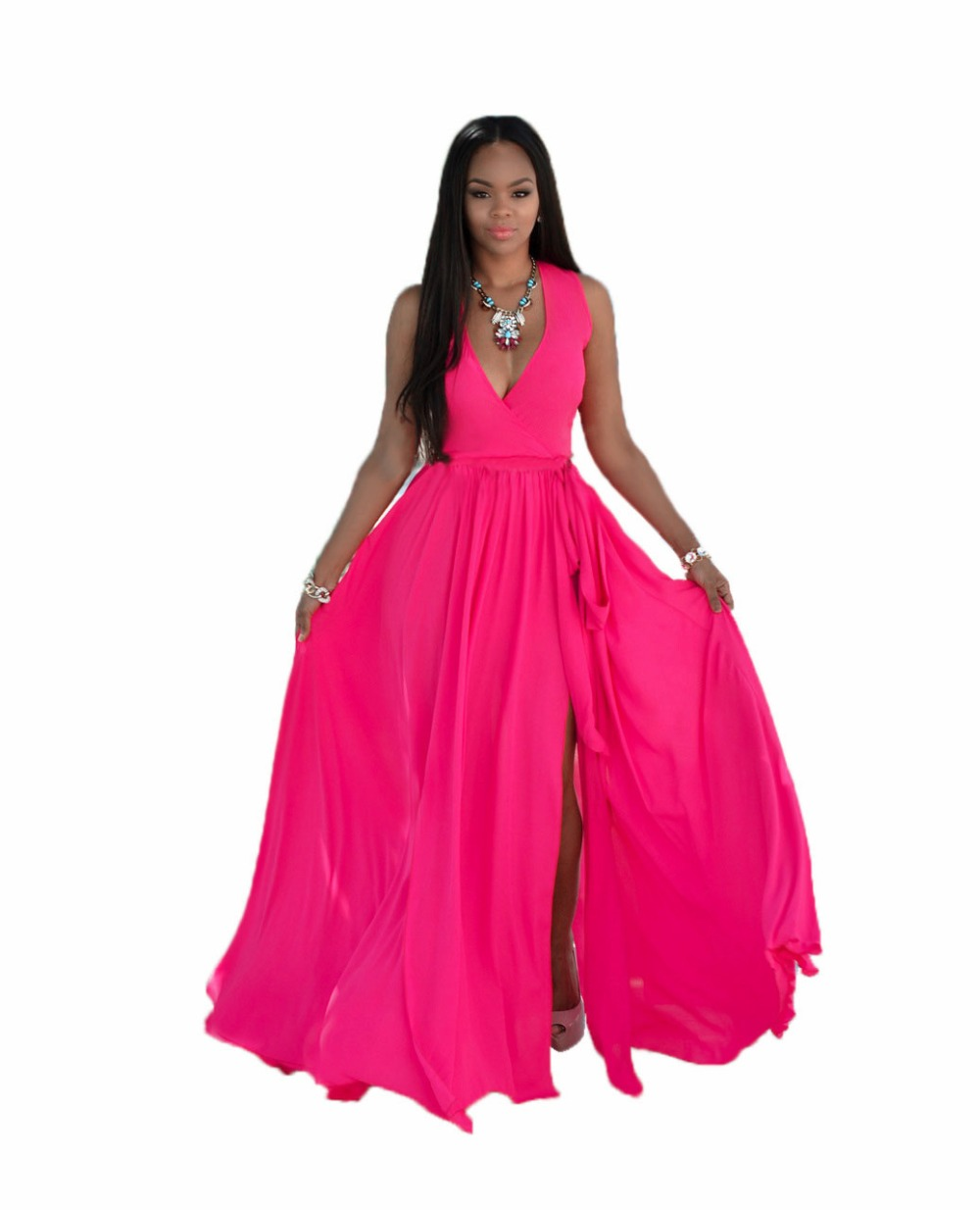 Adogirl New Summer V Neck Chiffon Maxi Dress Women High Slit With Belt Long Beach Dresses Plus Size Vestido De Festa 3 Colors