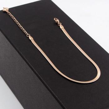 Fashion Simple Flat Snake Bone Chain Rose Gold Anklet Titanium Steel Women Feet Jewelry Anti-allergic 3