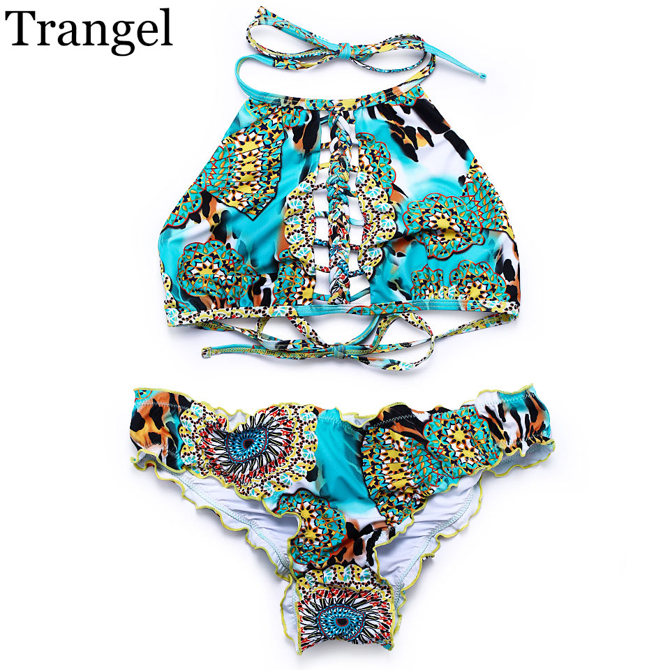 Trangel 2017 women bikini sexy swimwear halter swimsuit print swimwear brazilian bikini high neck bikinis set