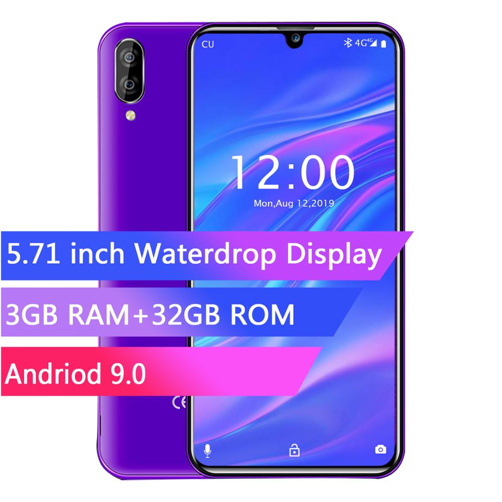 Tela OUKITEL C16 PRO 5.71HD + Waterdrop MT6761P 4G Smartphone Quad Core 3GB 32GB Android 9.0 Torta face ID Telefone Móvel