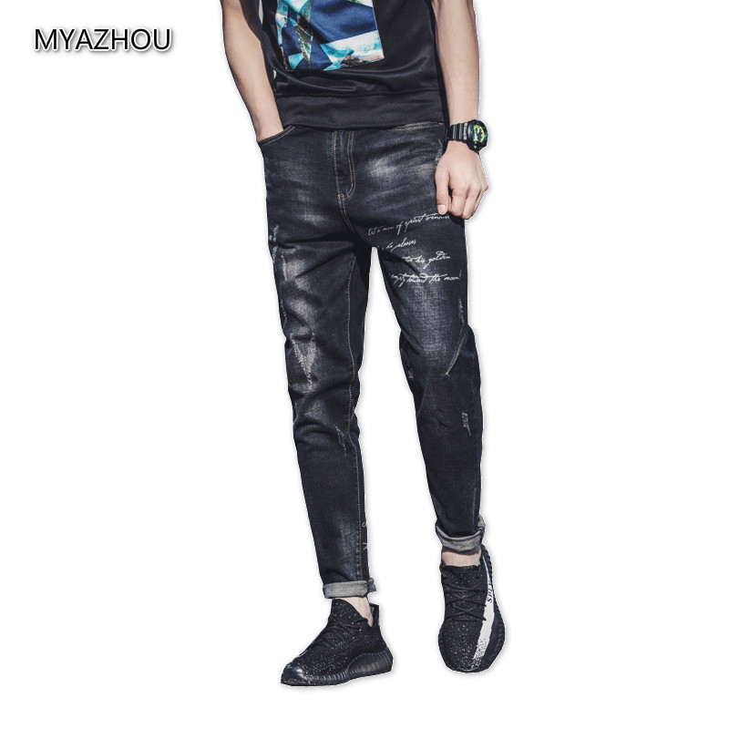 High quality mens skinny jeans autumn black stretch Slim letter printing fashion casual simple with hip hop small feet jeans