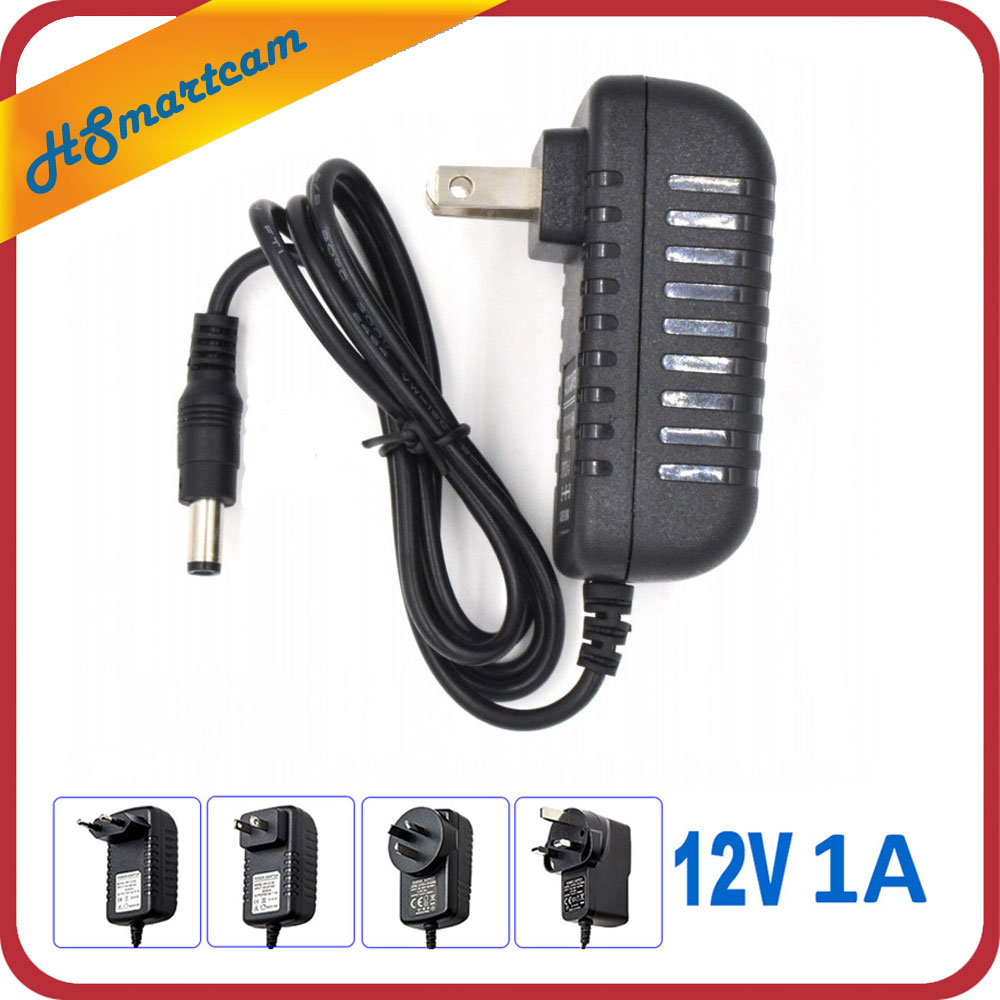 AC 110-240V To DC 12V 1A Power Supply Adapter For CCTV HD Security Camera Bullet IP/CVI/TVI/AHD/SDI/ Cameras EU/US/UK/AU Plug dc 12v 5a ac adapter cctv power supply adapter box 1 to 8 port for the cctv surveillance camera system abs plastic
