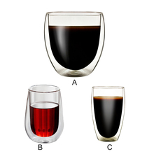 Wholesale Double Wall Heat-resistant Glass Tea Cup Coffee Mugs Transparent Insulation Glasses Cups Explosion Proof wine Glass