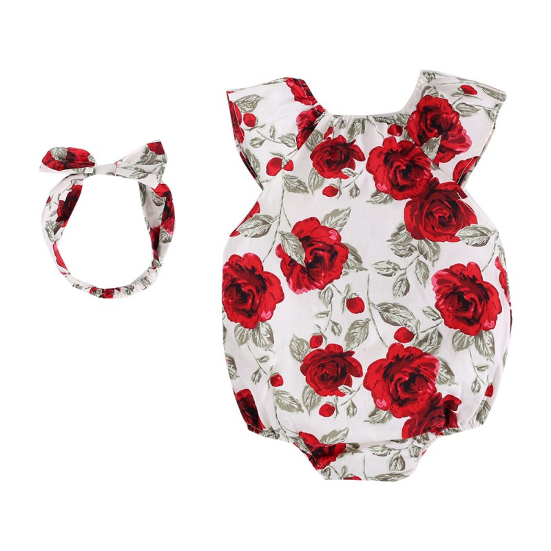 Floral Sleeveless Cute Rompers Rose Print + Hair Band Romper Suit Red Round Neck Sleeveless Triangle 0-36M RomperFloral Sleeveless Cute Rompers Rose Print + Hair Band Romper Suit Red Round Neck Sleeveless Triangle 0-36M Romper