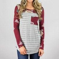 Spring Autumn T Shirt 2018 Striped Patchwork Long Sleeve Tee Shirt Women Casual T Shirt Female Floral Print Top Tunic SJ101V
