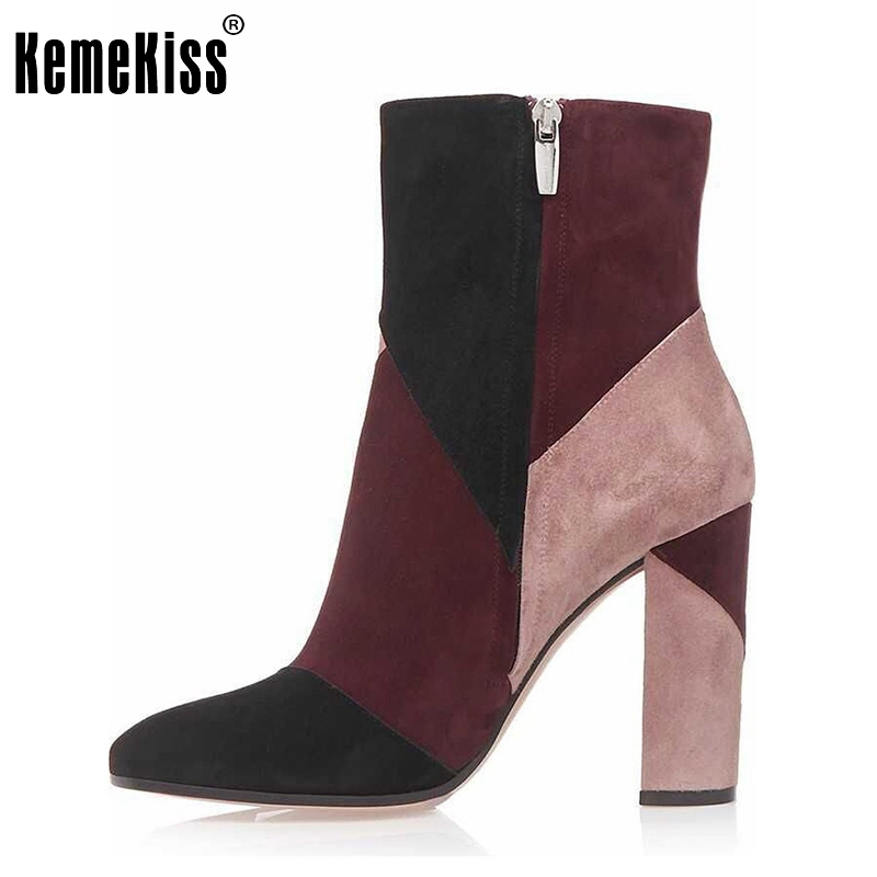 Здесь можно купить  Women High Heel Sexy Mix Color Ankle Boots Zip Platforms Shoes Ladies Square Heels Vintage Botas Footwear Mujer Size 35-46 B215 Women High Heel Sexy Mix Color Ankle Boots Zip Platforms Shoes Ladies Square Heels Vintage Botas Footwear Mujer Size 35-46 B215 Обувь