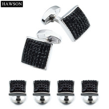 Brand Fashion Jewelry Cufflinks Studs Cufflinks Studs for Men Jet Crystal Teuxdo Set Wedding Gift High Quality