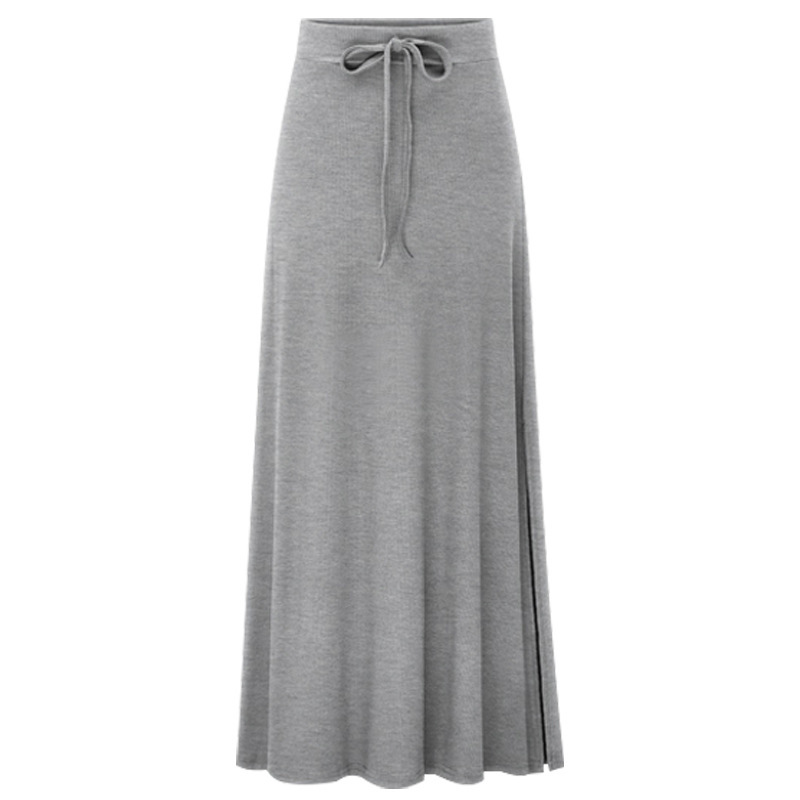 Women Skirts Knitted Plus-Size Lace-Up Elastic-Waist Korean-Style Casual Ladies Falda