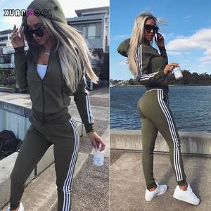 XUANCOOL Tracksuit 2 Pieces Set Sweatshirt Pants Women's