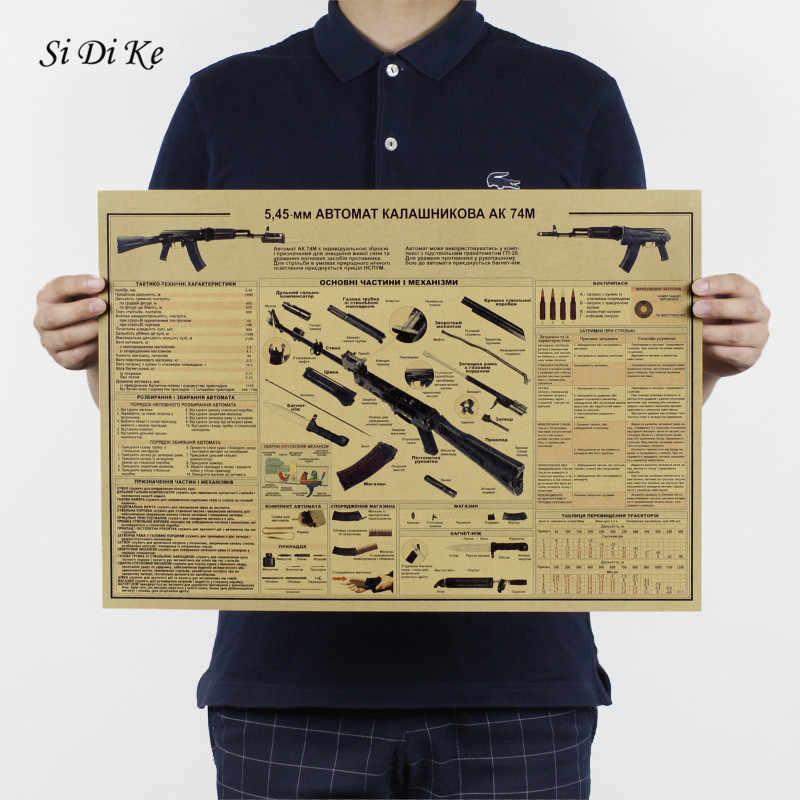 Si Di Ke AK47 Arma Gun Armas De Parede Retro Do Vintage Papel Poster Vintage Wallpaper Poster Rifles de Assalto