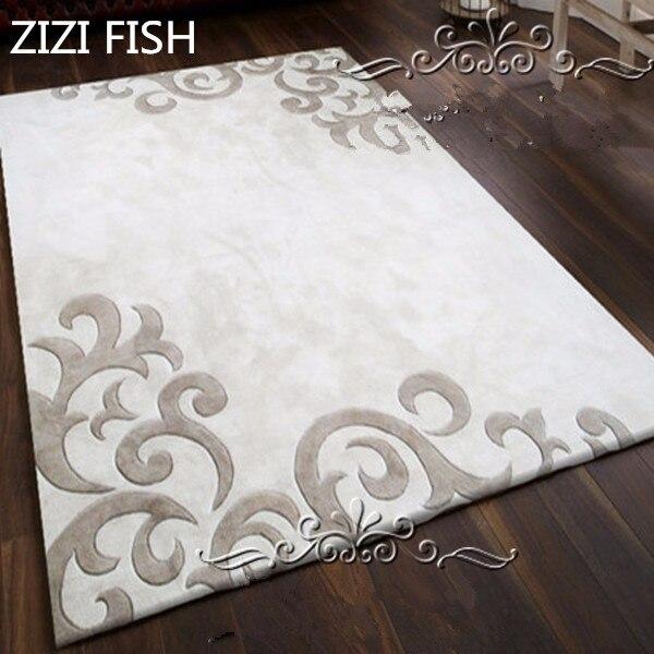 Dernière mode européenne tapis blanc gris le salon la chambre Rectangle tapis contracté acrylique tapis