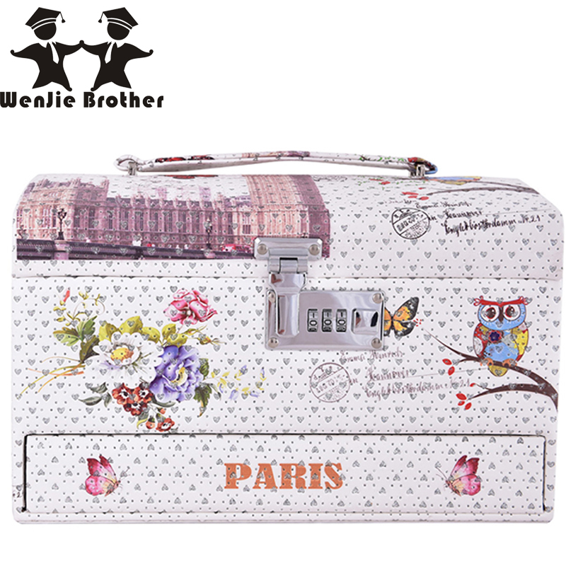 ФОТО wenjie brother high heeded owl flower design Make up Box Makeup Case Beauty Case Cosmetic Bag Multi Tiers Lockable Jewelry Box