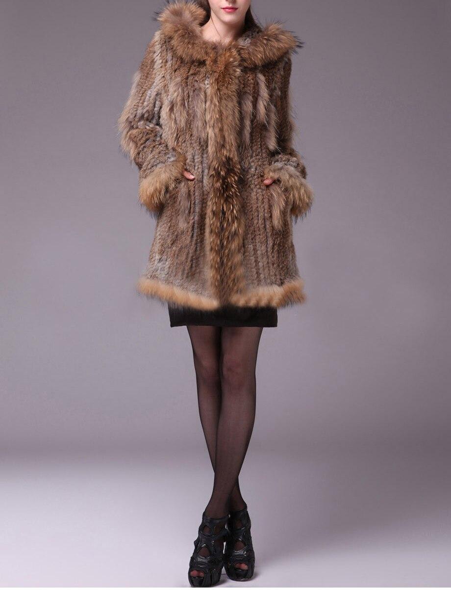 Cappuccio Lungo Nuove Donne di Modo Reale della Pelliccia Del Coniglio Maglia del Cappotto del Rivestimento Più Il formato Supplementare di Formato S-7XL YH41
