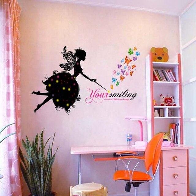 Flower Angel Wall Sticker Cartoon Art Home Shop Window Decor Wall