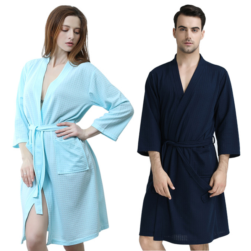 Men Plus Size Knee-Length Suck Sweat Towel Bath Robe Lovers Summer Sexy Waffle Kimono Bathrobe Male Solid Knitted Dressing Gown