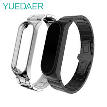 YUEDAER Bamboo Metal Stainless Steel Wrist Strap For Xiaomi Mi Band 4 Bracelet Accessories Miband 4 Straps Miband4 Black Sliver(China)