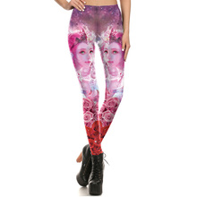 1648 Fitness Elastic Women Leggings Sexy Girl Polyester Slim Fit Workout Pants Trousers romantic Flower Rose