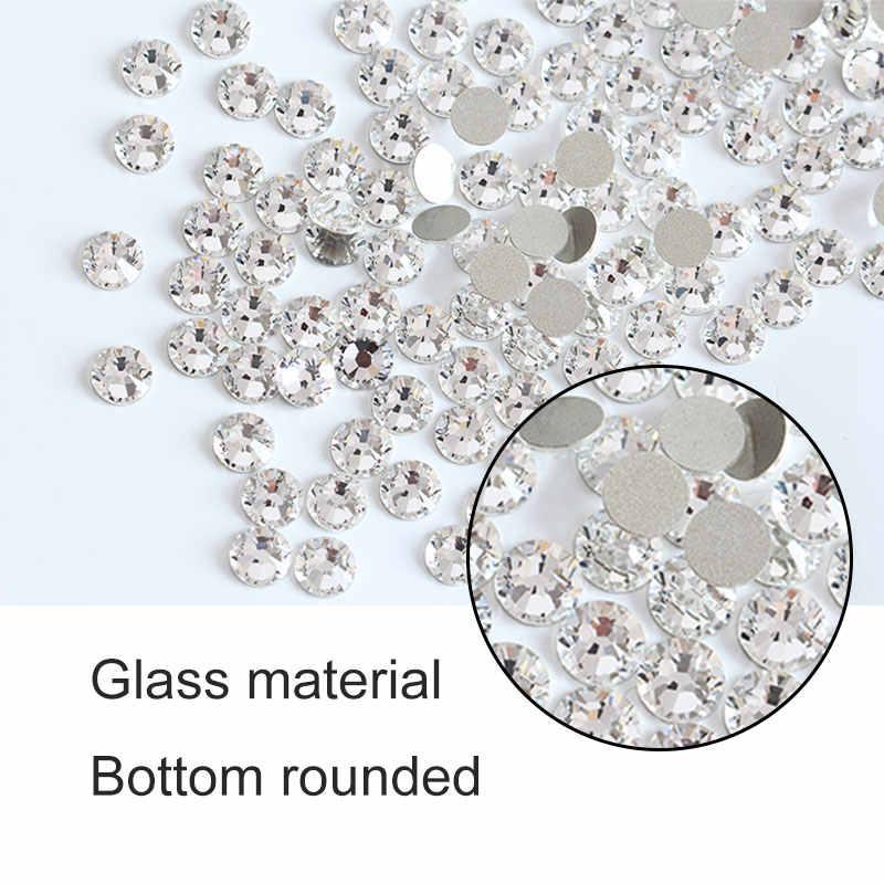 Super Glitter Rhinestones คริสตัลล้าง ss3-ss50 Non HotFix FlatBack แก้วเล็บ Rhinestones เงาตกแต่งเล็บ H0014