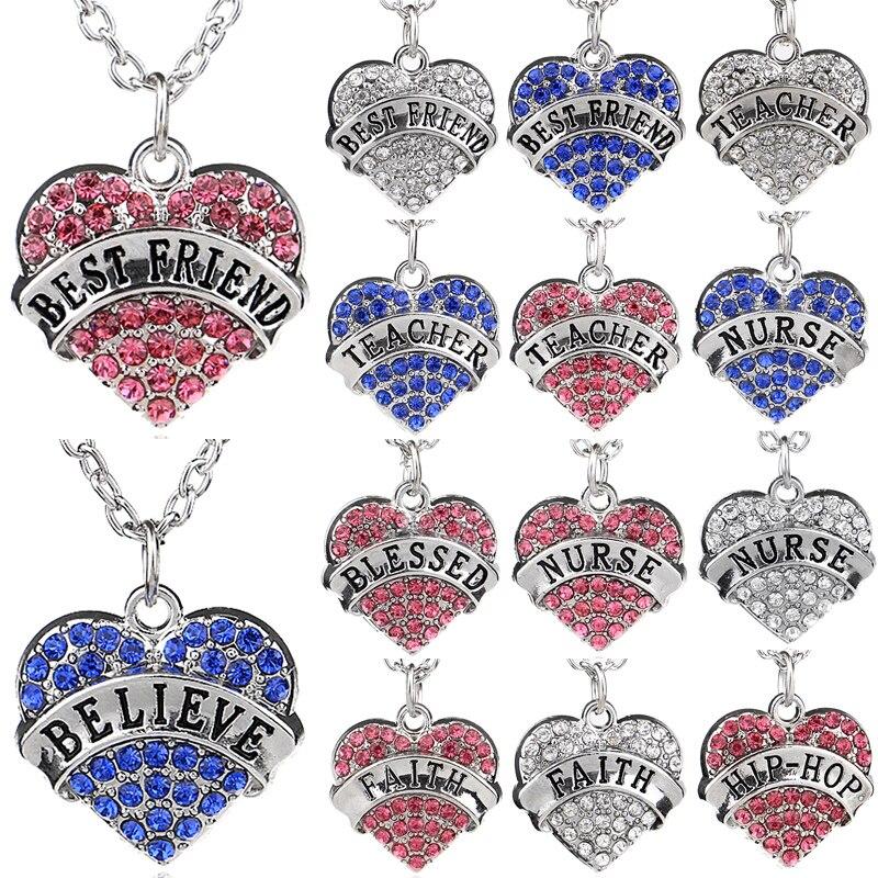 Buy Bespmosp 35 Styles New Crystal Heart Nurse Teacher Believe Best Friend BFF Family Women Men Jewelry Pendant Necklace Gift Choker for $1.04 in AliExpress store