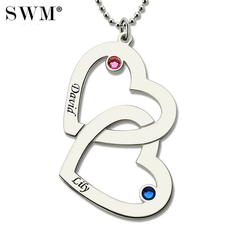 Women's Sterling Silver Necklace Custom Necklaces with Two Names Birth Stones Choker Chain Double Heart in Heart Couple Pendant heart velvet choker necklace