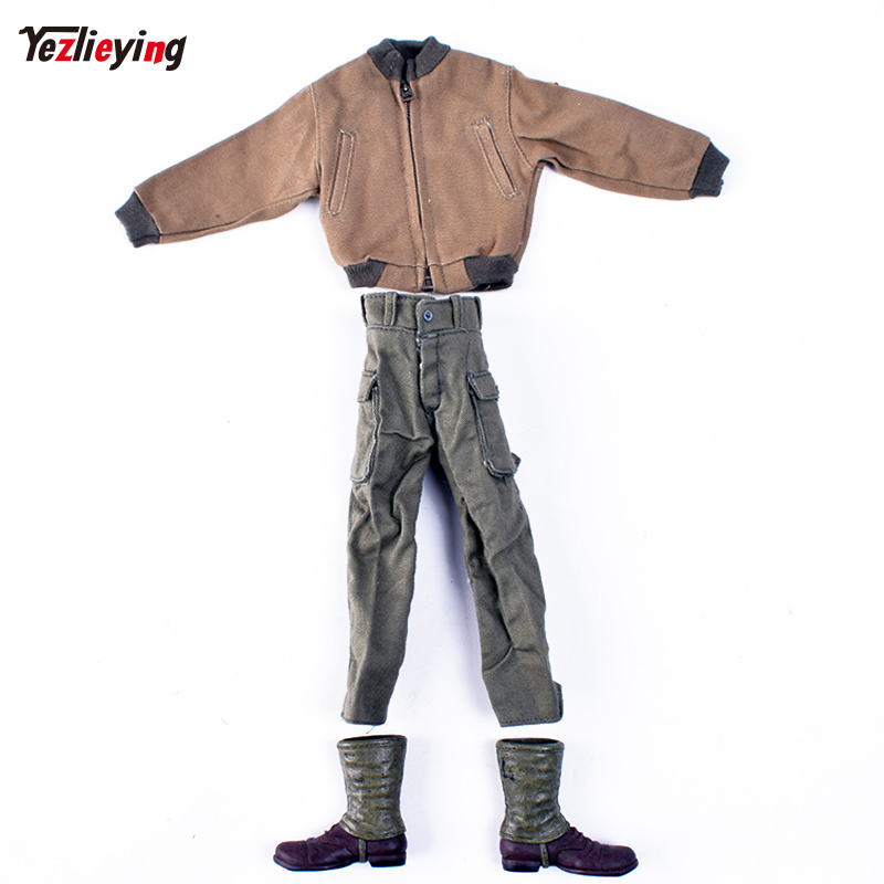 1/6 Scale Soldier Clothes Jacket World War II American Rangers armored combat boots and trousers sets Fit 12 Inch Action Figures