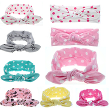 FAMSHIN 1pc Infant Baby Girls Toddler Newborn Print Dot Rabbit Ears Hairband Turban Bow Knot Headband Hair Band Free shipping