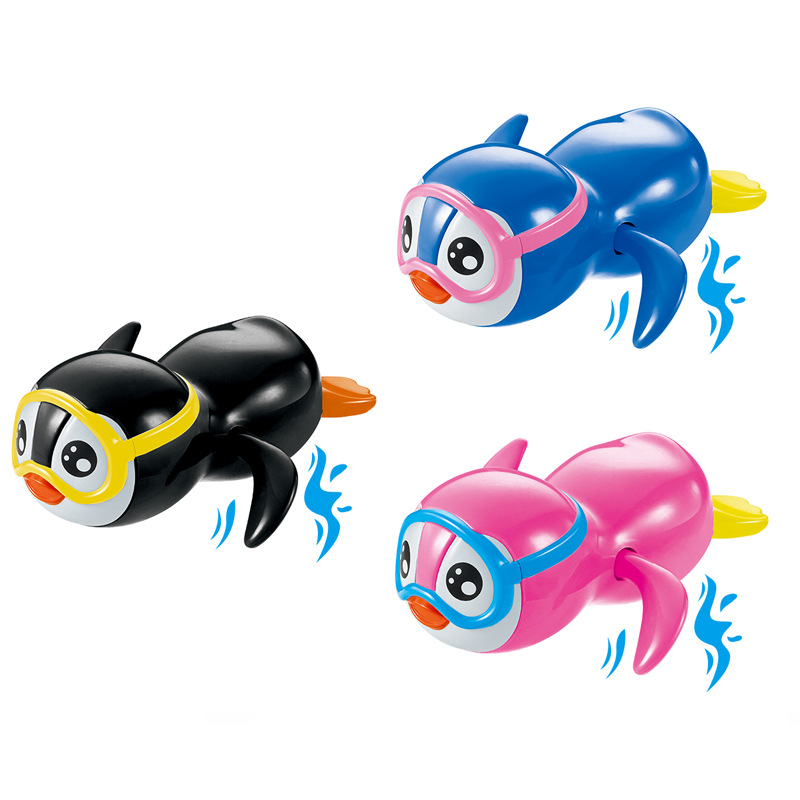 Baby Swimming Bath Toy Clockwork Wind Up Kids Cute Penguin Cartoon Animal Classic Bathroom Shower Toys Gifts For Children