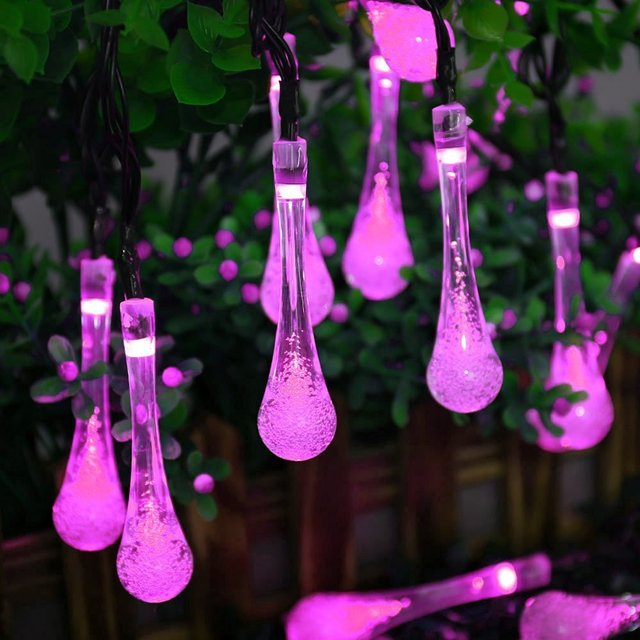Solar Power String Lights 30 LED Water Drop Strip Solar Lamp Outdoor Light For Wedding Christmas Festival Club Party Decoration