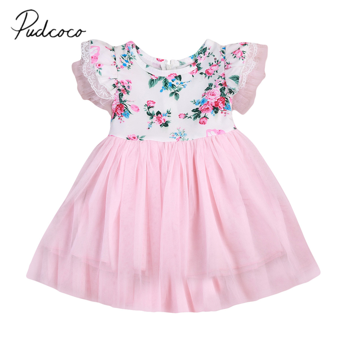 2017 Brand New Flower Girls Summer Princess Dress Kids Baby Party Wedding Pageant Tutu Ruffled Sleeveless Sundress 1-6T baby girls infant wedding party bowknot sleeveless ruffled vest dress sundress