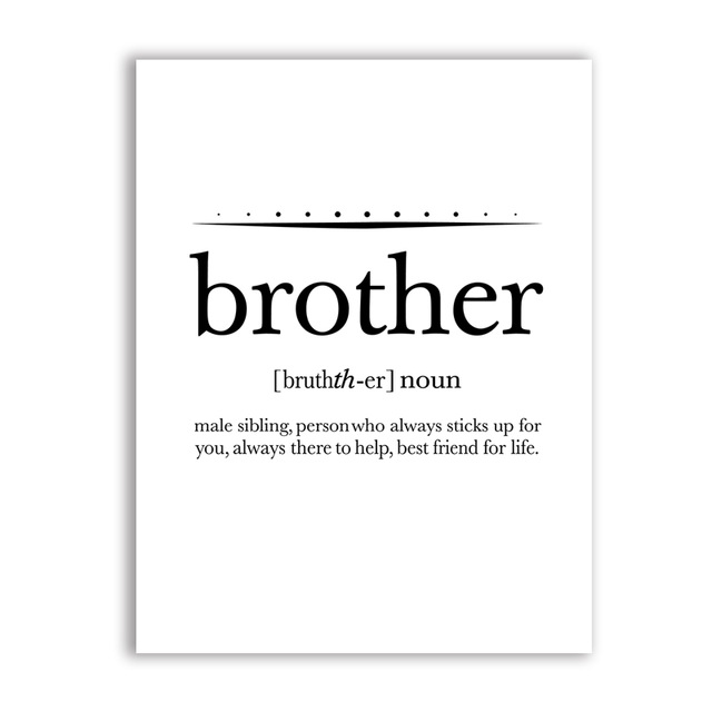 US $2.57 20% OFF Big Brother Quote Print Boy\'s Room Wall Art Decor Canvas  Poster, Brother Definition Canvas Painting Playroom Wall Art Prints-in ...