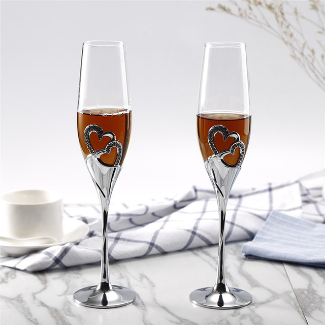 2pcs Set 200ml Wedding Champagne Crystal Silver Plated Toasting Flutes Long Wine Gles Cup For