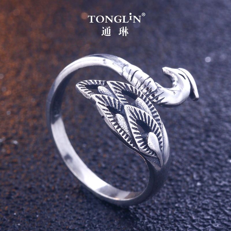 ccdd332c453c Винтаж Павлин обручальные кольца для Для женщин аксессуары Настоящее  серебро 925 проба маленький Eeys листья кольцо