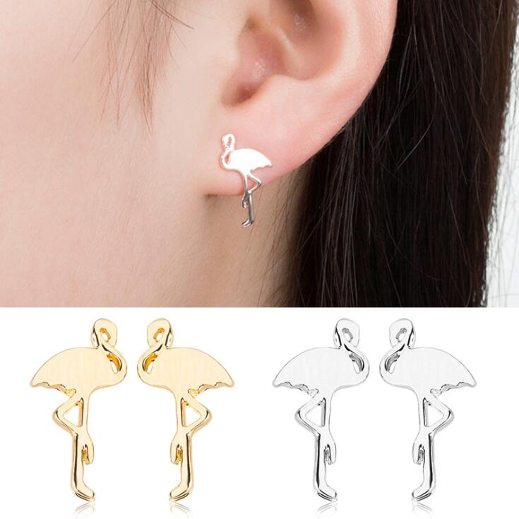 2018 New High Quality Cute Animal Stud Earring Flamingo Brass ear studs Women Girl Birthday Party Jewelry Gifts Cool Earring