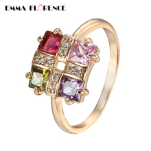 2018 Luxury Colorful Square CZ Finger Rings Quality Gold Color Party Promise Rings for Women Anniversary Gift Fashion Jewelry