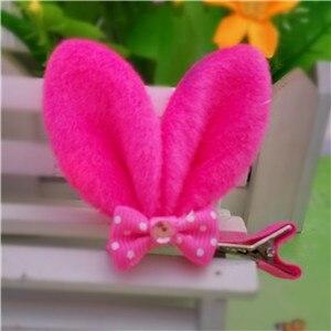 M MISM, новые аксессуары для волос для девочек, Разноцветные Милые заячьи ушки, шпильки для волос в горошек, Детская Милая заколка для волос - Цвет: Rose Red