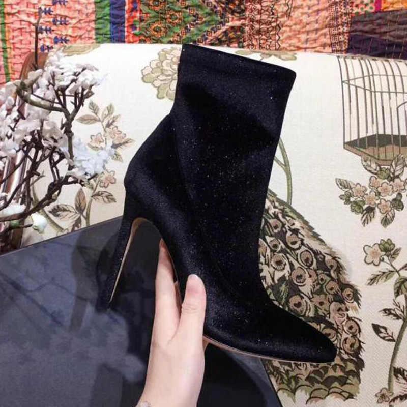 Lüks Kadife yarım çizmeler Kadın Sivri Burun Rhinestone Elmas Çiçek Yüksek Topuk Ayakkabı Kadın Streç Çorap