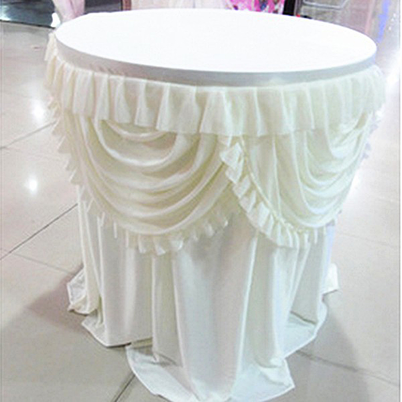 round table skirt wedding decorative champagne table skirt with double swags White and pink colorful cake
