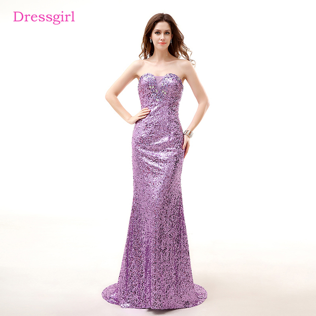 Lavender Evening Dresses 2017 Mermaid Sweetheart Sequins Crystals ...