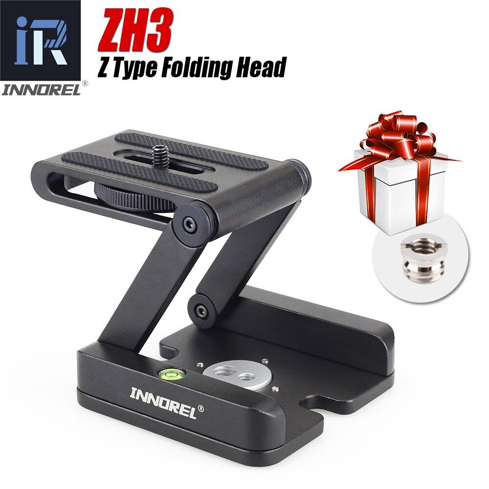 ZH3 Z pan cabeza de trípode flexible plegable tipo Z inclinar la cabeza para Canon Nikon Sony DSLR cámara de aleación de aluminio del trípode cabeza solución
