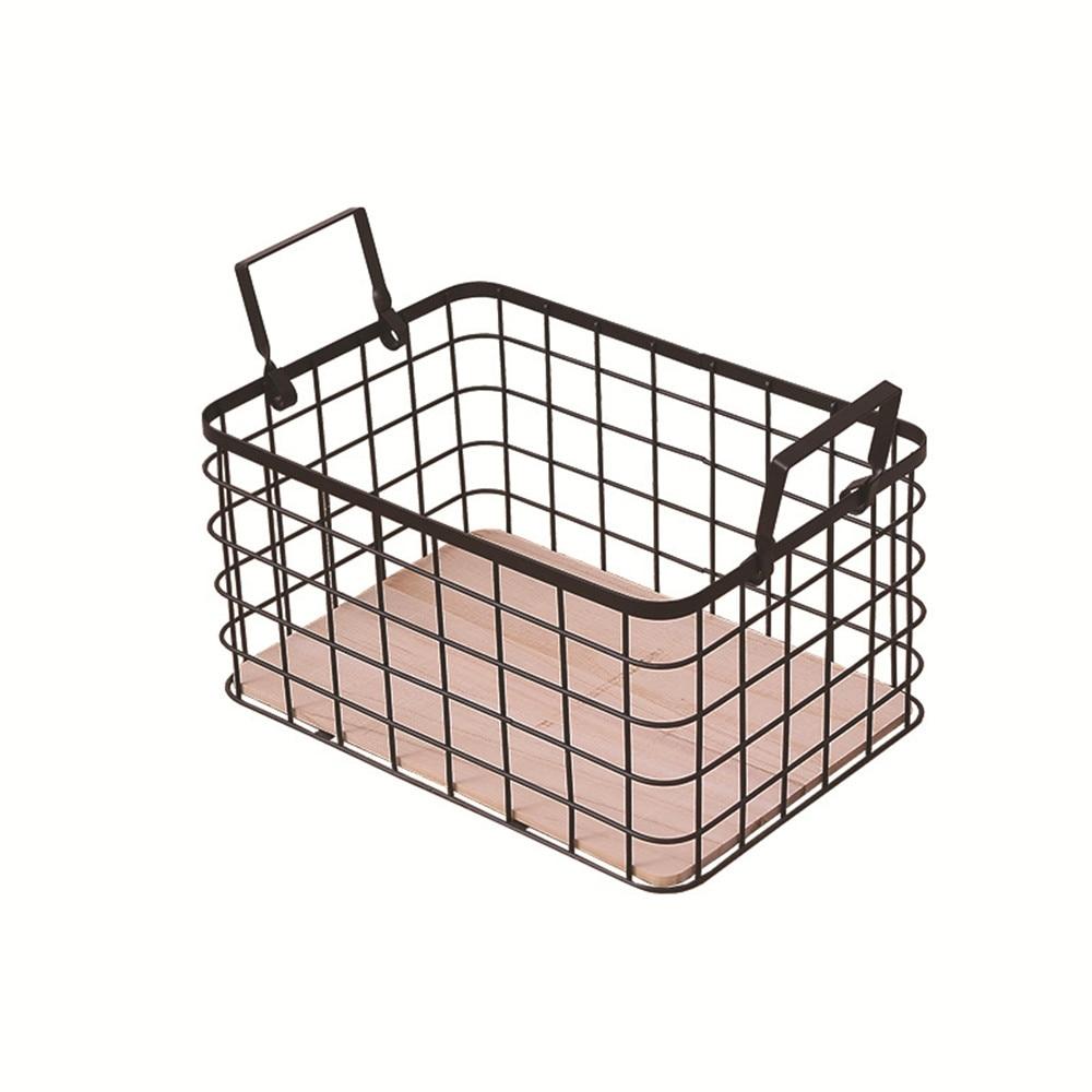 Nordic Home Bath Sundries Clothing Toy Iron Storage Basket Wooden Bottom Office Desktop Book Magazine Metal Organizer Frame