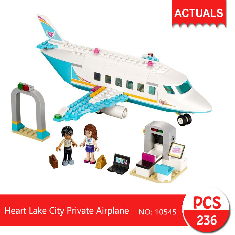 bela 10545 236Pcs Friends series Heart Lake City Private Airplane  Building Blocks   Bricks Toys For Children Gift hot city series aviation private aircraft lepins building block crew passenger figures airplane cars bricks toys for kids gifts