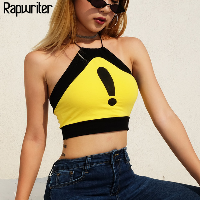 8396699236452a Rapwriter Sexy Yellow Exclamation Mark Print Splicing Women Sexy Backless  Camis 2018 Sleeveless Slim Halter Tank Top Crop Tops