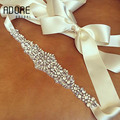 New Vintage bride Rhinestones Belts accessories Crystal appliques Wedding Crystal ivory/white ribbon waistband for dresses
