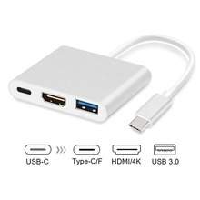 цена на USB-C to 4K HDMI Adapter USB C to USB3.0 Port 3 in 1 Type C Converter for MacBook Pro Samsung S8 S9 Pixel Huawei Mate10