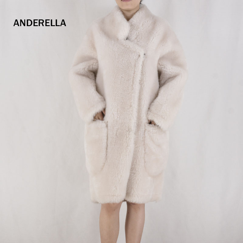 ANDERELLA Sheepskin Coat Wool Fur Womens Winter Jas Dames Fashion 2018Natural Real Merino Sheep Fur Coat For Women Collar X long